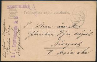1915 Tábori posta levelezőlap K.u.k. Korpstrainkommando Nr. 15. + FP 314