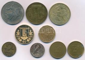 9db-os vegyes magyar és külföldi fémpénz, emlékérem, kitüntetés tétel 1941. Délvidéki Emlékérem cink emlékérem mellszalag és fül nélkül. Szign.: BERÁN L. T:vegyes 9pcs of mixed coins, commemorative medallions, decorations, with Hungary 1941. Commemorative Medal for the Return of Southern Hungary zinc medal without ribbon and ear. Sign.:BERÁN L. C:mixed