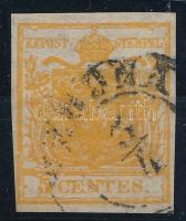 "5 centes HP I orange, overinked ""(VE)RONA"" Certificate: Strakosch, 5 centes HP I narancs, túlfestékezett nyomat ""(VE)RONA"" Certificate: Strakosch"