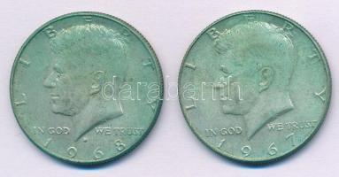 Amerikai Egyesült Államok 1967-1968D 1/2$ Ag Kennedy (2xklf) T:2 USA 1967-1968D 1/2 Dollar Ag Kennedy (2xdiff) C:XF Krause KM#202a