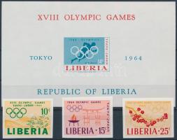 Tokyo Olympics imperforated set + imperforated block, Tokiói olimpia vágott sor + vágott blokk