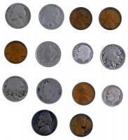 Amerikai Egyesült Államok 1883-1904. 5c Ni (2xklf) + 1917-1937. 5c Ni (3xklf) + 1934-1946. 1c Br (5xklf) + 1944-1954. 5c Ni (2xklf) + 1954-1961. 10c Ag (2xklf) T:2-3