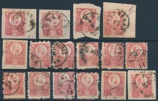 1871 Réznyomat 5kr 16 db bélyeg