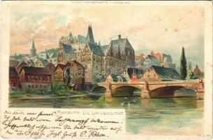 1903 Marburg; Die Universität / university, bridge. Künstlerpostkarte litho (fl)
