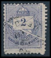 1881 Színesszámú 2kr papírránccal