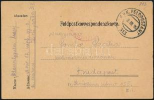 1916 Tábori posta levelezőlap FP 313