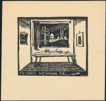 Vadász Endre (1901-1944): Ex libris Heimann Pál, fameszet, papír, jelzett a dúcon. 6x7 cm