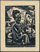 Bordás Ferenc (1911-1982): Ex occultis Dr. Lustig István. Fametszet, papír, jelzés nélkül, 8,5x6,5 cm