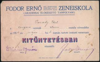1914 Fodor Ernő zeneiskola kitüntető oklevél 23x14 cm