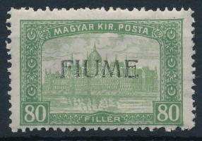 Fiume 1918 Parlament 80f H.IV. felülnyomással, Bodor vizsgálójellel (Sassone EUR 220,-)