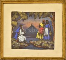 Üvegezett fa keret festett képpel. 31×34,5 cm