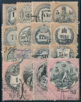 1880 16 db régi magyar okmánybélyeg