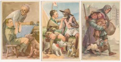 3 db RÉGI Cserkész Levelezőlapok Kiadóhivatal cserkész motívumlap, Márton L. szignóval / 3 pre-1945 Hungarian scout art postcards, signed by Márton L.