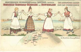 Ununterbrochene Eisenbahnfahrt (Mittelst Dampffähre) zwischen Norwegen-Schweden-Dänemark und Deutschland. An Bord der Dampffähre. Dampffähren-Verbindung Warnemünde-Gjedser / Uninterrupted railway journey with steam ferry. map, litho
