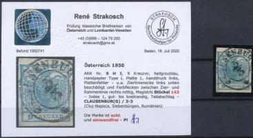 "9kr HP I light greyish blue margin piece, with plate flaw ""C(LAU)SENBURG"" Certificate: Strakosch, 9kr HP I világos szürkéskék ívszéli nyomat, lemezhibás bélyeg ""C(LAU)SENBURG"" Certificate: Strakosch"