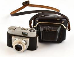 Beier Beirette fényképezőgép Meritar 1:2,9/45 mm objektívvel, eredeti tokjában, akadó zárszerkezettel