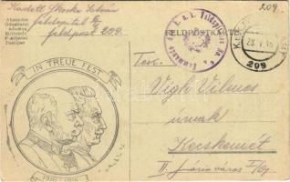 1916 In Treue Fest 1914-1915 / WWI Austro-Hungarian K.u.K. military field postcard, Viribus Unitis propaganda with Franz Joseph I of Austria and Wilhelm II + K.u.K. Feldspitales No. 6/4. Kommando (EK)