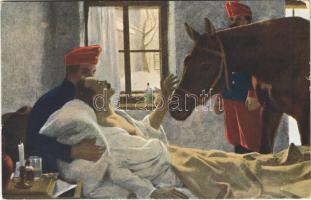 1916 Der letzte Abschied / WWI Austro-Hungarian K.u.K. military, injured soldier on his deathbed, last farewell. A.R. & C. i. B. Russische Gemälde No. 50. s: Kurzweil (EK)