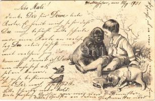1901 Boy with dogs. Emb. litho (fa)