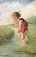 1921 Das Ungeheuer / The little monster Children art postcard, girl with frog