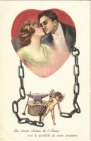 1924 Les douces chaines de lAmour sont le symbolle de notre constance / Romantic couple, lady art postcard (EK)