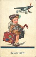 1940 Karjaidba repülök! / Children art postcard. EAS Nr. 2106. (EB)