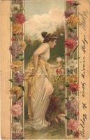 Art Nouveau lady, floral, litho
