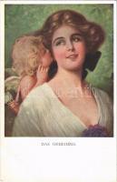 Das Geheimnis / Lady art postcard. M. Munk Wien Nr. 1089.