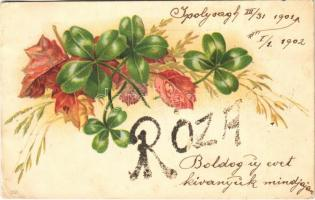 1901 Róza / Name Day greeting card with clovers. litho (EB)