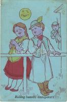 Boldog húsvéti ünnepeket! / Easter greeting art postcard, Hungarian folklore, romantic couple (kis szakadás / small tear)
