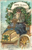 1907 A Happy New Year! New Year greeting art postcard, Saint Nicholas driving an automobile decorated with clovers. Emb. golden litho (EK)