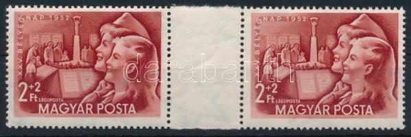 1952 Bélyegnap 2+2Ft ívközéprészes pár