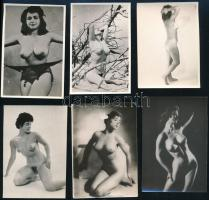 cca 1965 Fekete György (1904-1990) budapesti fényképész hagyatékából 13 db szolidan erotikus fénykép, 6x9 cm vagy ehhez közeli méretekben