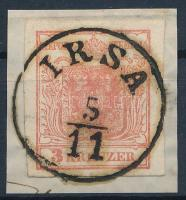 3kr MP I tomato red, on cutting, Gravurtype 2-2