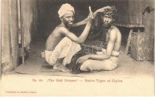 Ceylon, Sri Lanka; The Hair Dresser. Native Types of Ceylon No. 48.