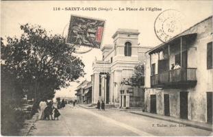 Saint Louis, La Place de lEglise / street view, church. P. Tacher phot (EK)