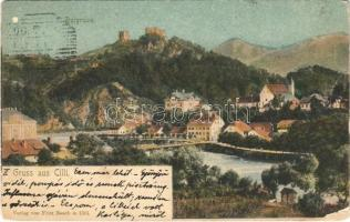 1900 Celje, Cilli; Burgruine / castle ruins, bridge. Verlag Fritz Rasch (EM)