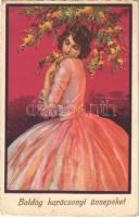 Boldog karácsonyi ünnepeket! / Italian lady art postcard with Christmas greeting s: T. Corbella (EK)