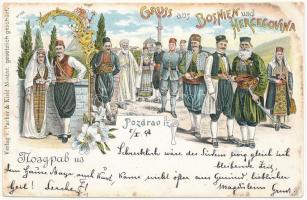1897 (Vorläufer) Gruss aus Bosnien und Hercegovina! Folklore. Pacher & Kisic Art Nouveau, floral, litho (Rb)