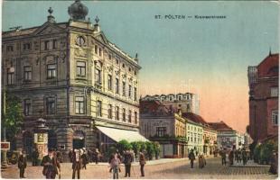 Sankt Pölten, St. Pölten; Kremsergasse / street view, post office, shops, café