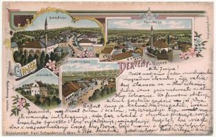 1908 Derventa, Gradska Moschee, Begova Moschee, Serbische Gasse und Kirche / mosques, Serbian street and church. Kunstanstalt Karl Schwidernoch Art Nouveau, floral, litho (EK)