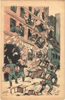 Házkutatás fehér módon! Fehérterror Magyarországon. Verlag der Arbeiter-Buchhandlung / White Terror in Hungary, left-wing propaganda card, Judaica s: Bíró (EK)