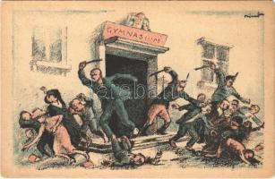 Zsidók ki az iskolából! Fehérterror Magyarországon. Verlag der Arbeiter-Buchhandlung / White Terror in Hungary, left-wing propaganda card, Judaica s: Bíró