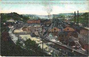 Pittsburgh (Pennsylvania), The Westinghouse Electric and Manufacturing Company, offices in the background, industrial railway, train