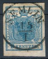 9kr IIc deep blue with plate flaw