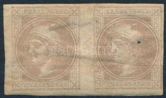1867 Hírlapbélyeg Ia típusú pár eredeti gumival (hiányos gumi, betapadás / missing gum, gum disturbance)