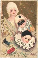 1933 Masquerade, clown. Italian art postcard. Ballerini & Fratini 365. s: Chiostri (EK)