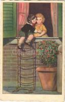 1930 Romantic couple, Children art postcard (EK)