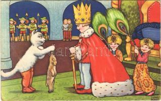 1934 Puss in Boots. Children fairy tale art postcard with cat. Amag 0403. s: Margret Boriss (EK)