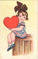 1933 Children art postcard, girl with heart. Amag 0410. (EK)
